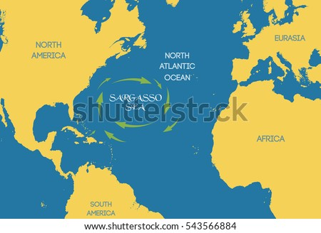Sargasso Sea On World Map.Vector Illustration Sargasso Sea On World Stock Vector Royalty Free