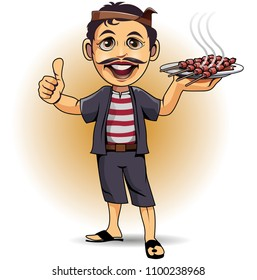 Vector illustration, the satay chef is showing his cooking