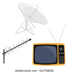 Vector illustration satellite dish antenna, television antenna and retro tv. Antenna icon. Television antenna. TV antenna. TV icon set.