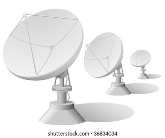 Vector illustration of satellite dishes row isolated on white background .