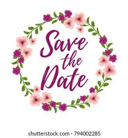 Vector illustration, Save the Date text. Wedding invitation design element.
