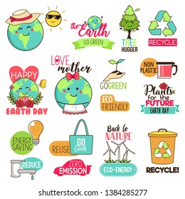 A vector illustration of Save the Earth Happy Earth Day Cliparts