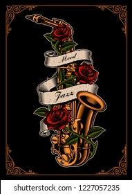 Vector illustration of saxophone with roses and ribbon in tattoo style on the dark background.