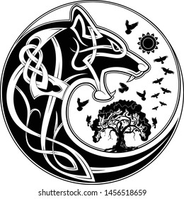 Vector illustration of the Scandinavian myths. Symbols of Vikings wolf and a raven. Celtic patterns. Northern culture. Black tribal tattoo.
