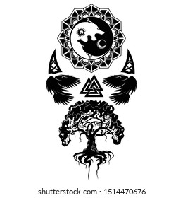 Vector illustration of Scandinavian myths. Tree of life, Raven and Celtic sacred symbol. Wolves eating the sun and moon. Norman culture. Triskelion. Triskele. Black tribal animals tattoo.
