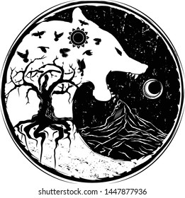 Vector illustration of the Scandinavian myths. Wolf swallowing of the moon. World tree. Raven - symbol of night. Black tribaltattoo. Grung style. Celtic culture. Wolf sign of Vikings.