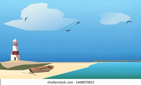 Vector illustration of Scandinavian or Nordic seaside landscape.Lighthouse,wooden boat on the beach with jetty under blue sky and turquoise green sea .Scandinavian Nordic style.