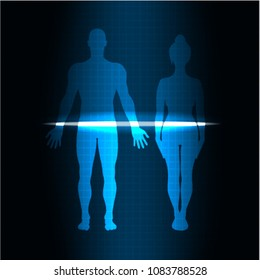 vector illustration of a scanning of a man and a woman