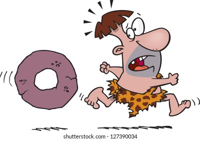 A vector illustration of scared cartoon caveman running away from a stone wheel that is chasing him