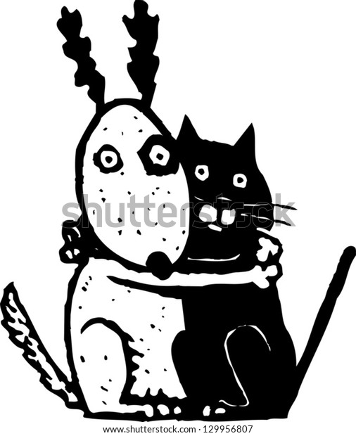 Vector illustration of scared cat and dog