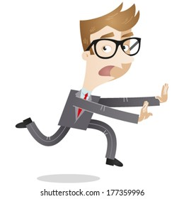 Vector illustration of a scared looking cartoon businessman looking back and fleeing in panic.