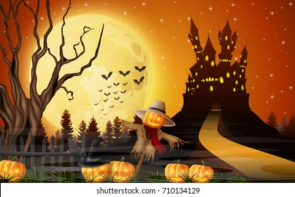 Vector illustration of Scary castle with scarecrow and pumpkins on the full moon