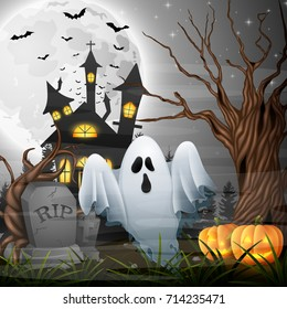Vector illustration of Scary church background with ghost and pumpkins