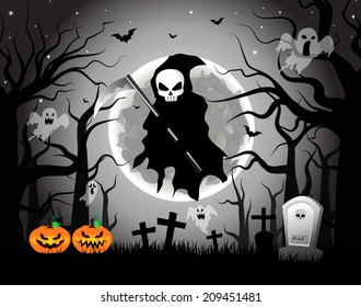 Vector illustration of Scary Grim Reaper with Scythe in a Graveyard during Halloween's Night.EPS10