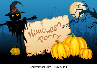 vector illustration of scary scarecrow with pumpkin in Halloween night