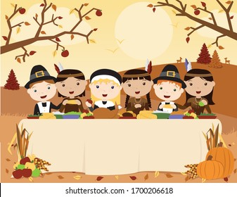 A vector illustration of a scene of the first Thanksgiving celebration with cute Pilgrims and Native Americans sharing dinner at an outdoor table in a fall landscape