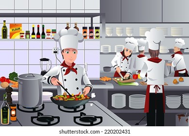 A vector illustration of scene inside a busy modern restaurant kitchen