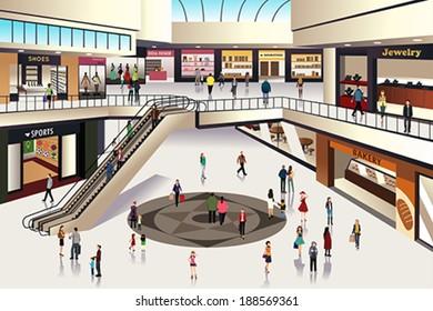 A vector illustration of scene inside shopping mall