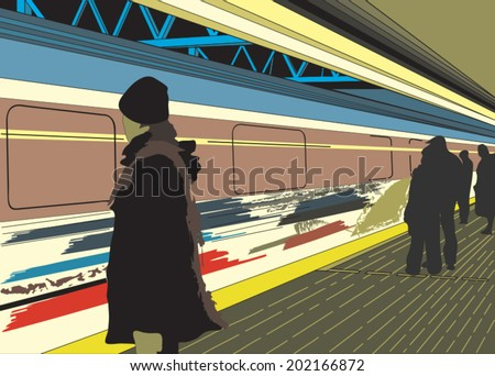 vector illustration of a scene in one of Vancouver metro/skytrain station with people waiting on the station platform