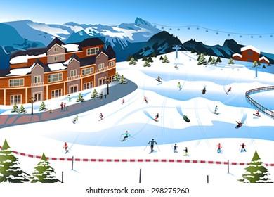 A vector illustration of scene in a ski resort