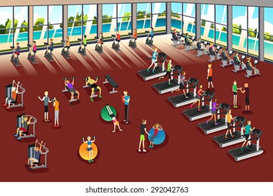 A vector illustration of scenes inside a fitness center