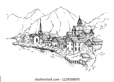Vector Illustration of Scenic picture-postcard view of famous Hallstatt mountain village with Hallstaetter Lake in the Austrian Alps, region of Salzkammergut, Austria.Sketch