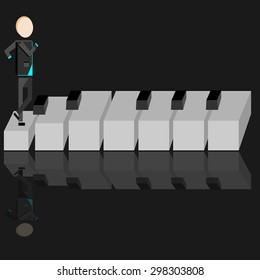 a vector illustration of a schematic person in a suit walking upwards on the piano keys
