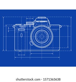 Vector Illustration of a Schematic Photo Camera Blueprint on Blue Background
