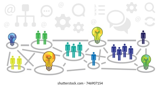 vector illustration of scheme with circles locations people and bulbs for niche marketing products designs