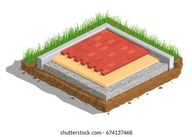 Vector illustration, scheme of laying the road, pavement, tile, pavement, isometrics, infographics, carved earth