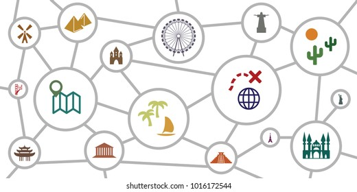 vector illustration of scheme with location and activities spots for travelers and touristic routes and planning visualization concepts