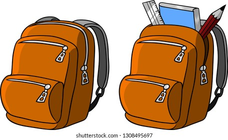 Vector illustration of a school backpack for a school child.