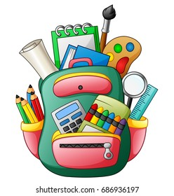 Vector illustration of School bag with school supplies