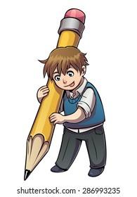Vector illustration of school boy with big pencil