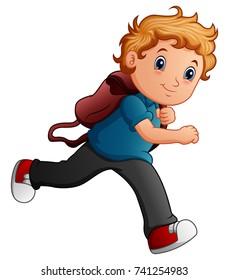 Vector illustration of School boy cartoon running