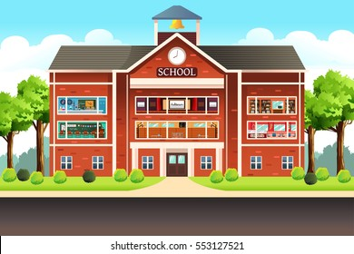 school building cartoon images stock photos vectors shutterstock rh shutterstock com cartoon school building black and white cartoon school building vector illustration