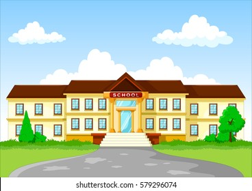 Vector illustration of school building cartoon