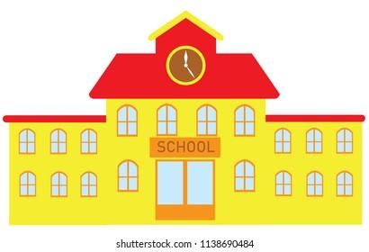 vector illustration of a school building flat design. education background.