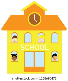 vector illustration of a school building with kids. education back to school background.