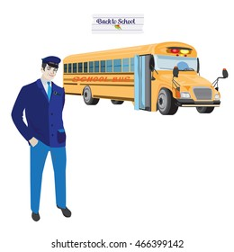 Vector illustration of a school bus driver. The driver is wearing a blue uniform and standing in front of the yellow school bus. Back to school.
