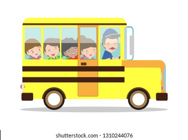 Vector illustration of School bus. happy smiling kids riding on a school bus with a driver. back to school Isolated on white background