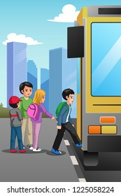 A vector illustration of School Children at School Bus Stop