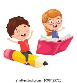 Vector Illustration Of School Children Flying