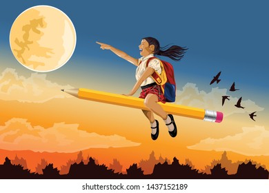 Vector Illustration Of School Children Flying In The Sky Clouds On a Pencil  Like a Superhero