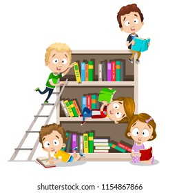 Vector illustration of school children reading books next to big book shelf. Kids in different poses, outfit, with different emotions and expression. Back to school illustration