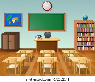 Vector illustration of School classroom interior with chalkboard and desk