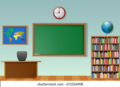 Vector illustration of School classroom interior with chalkboard and teacher desk