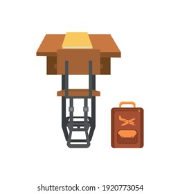 Vector illustration of a school desk and chair, perspective rear view. Isolated over white background.