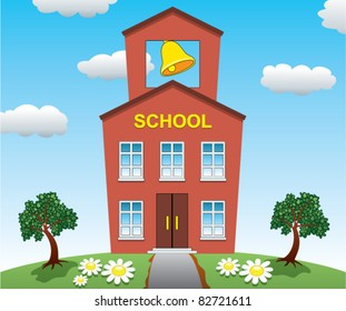 vector illustration of school house