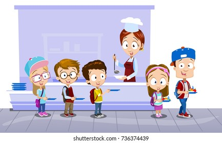 Vector illustration of school kids in canteen buying and eating lunch. Pupils in school cafeteria being served lunch by dinner lady. Back to school illustration